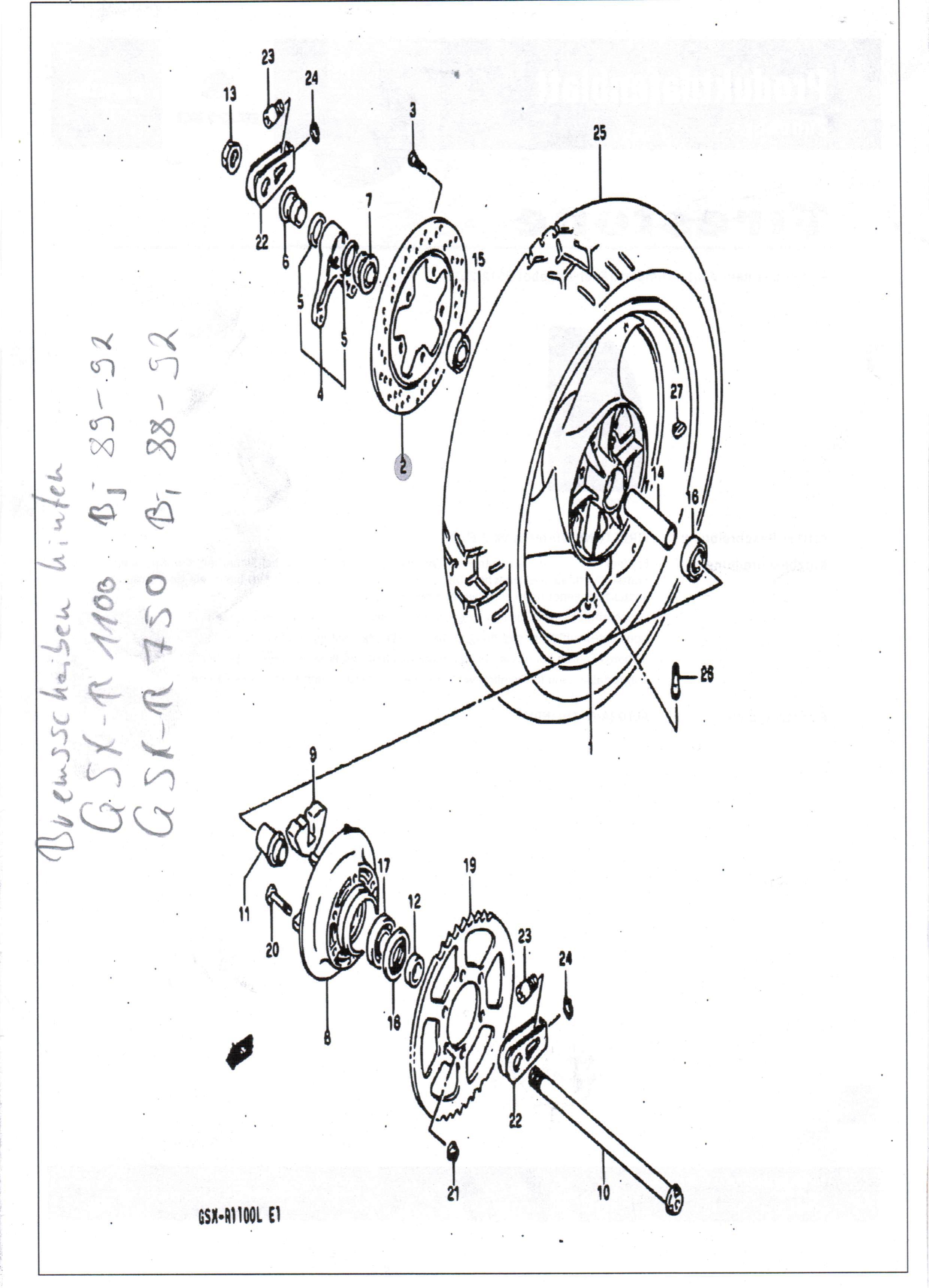 fahrwerk  bremsen  bremsscheibe hinten f u00fcr gsx 1100